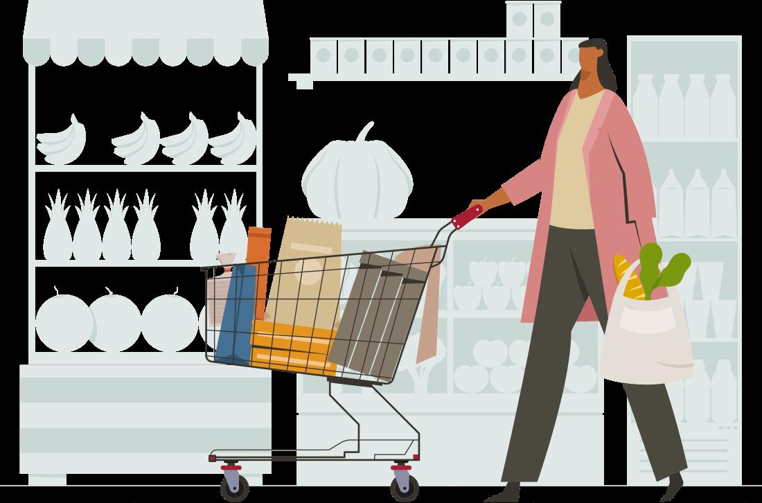 donna con carrello della spesa al supermercato