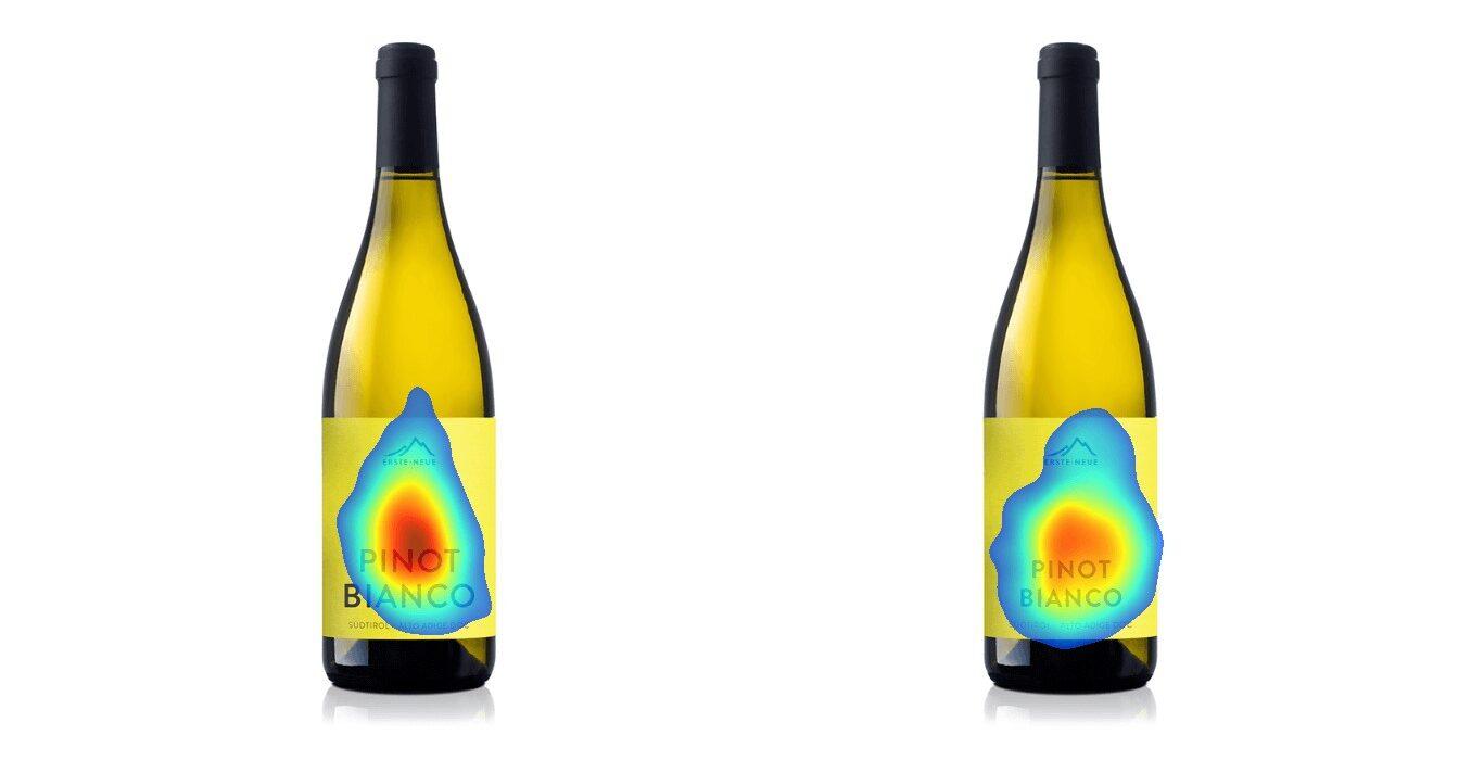 studio delle etichette delle bottiglie di vino con eye tracking